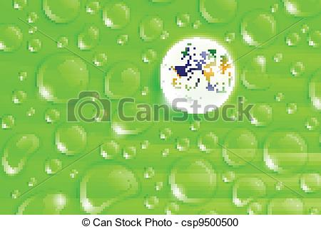 Vector Clipart of planet Earth inside a dew drop on a green leaf.
