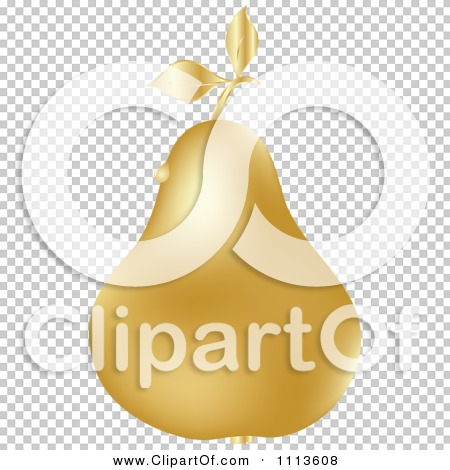 Clipart Gold Pear With A Dew Drop.