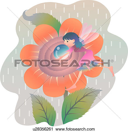 Clipart of dewdrop, fall, raindrop, holding, flower, autumn.