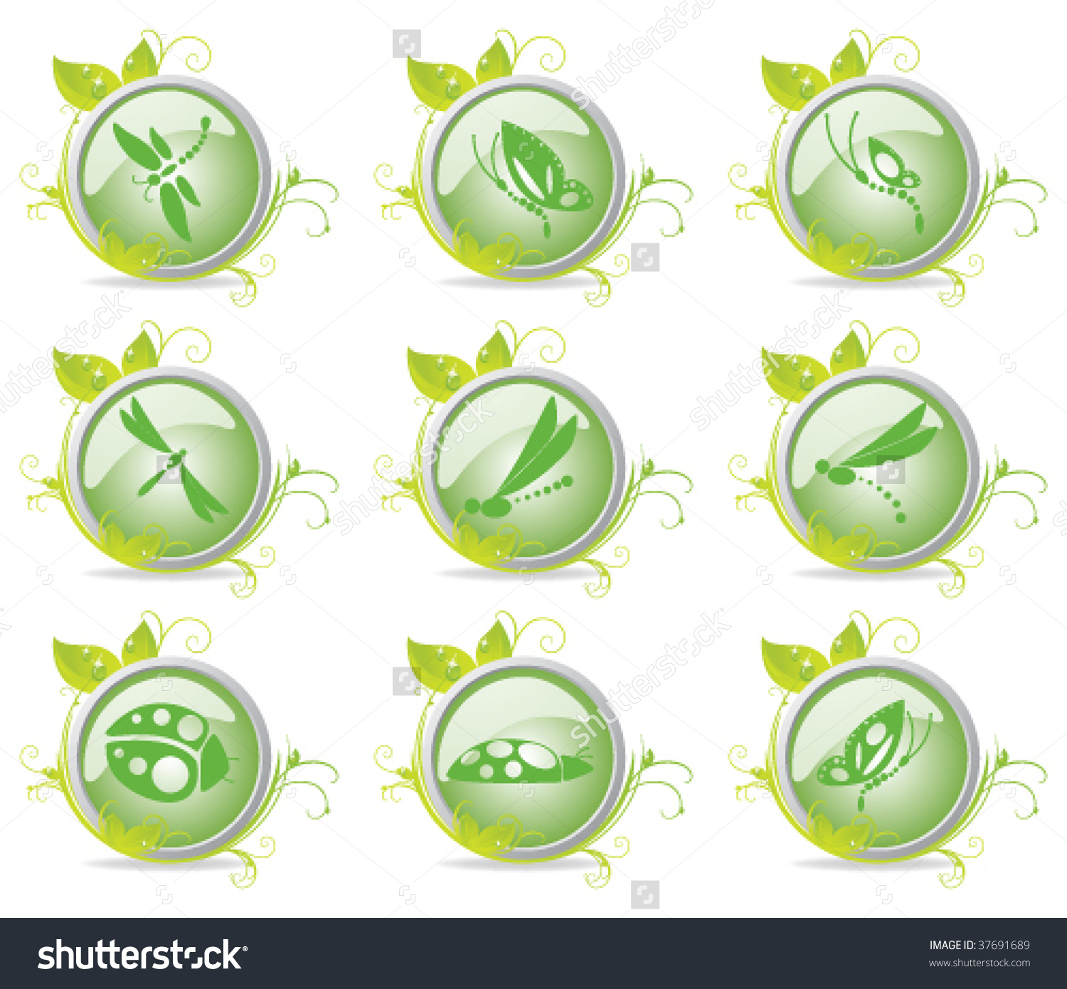 Nine Ecological Insect Icons Surrounded By Dewdrop Leaves And Airy.