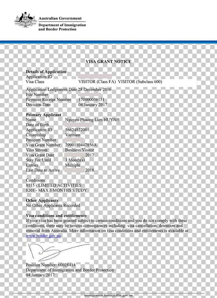 Visa policy of Australia Travel visa Receipt Letter.