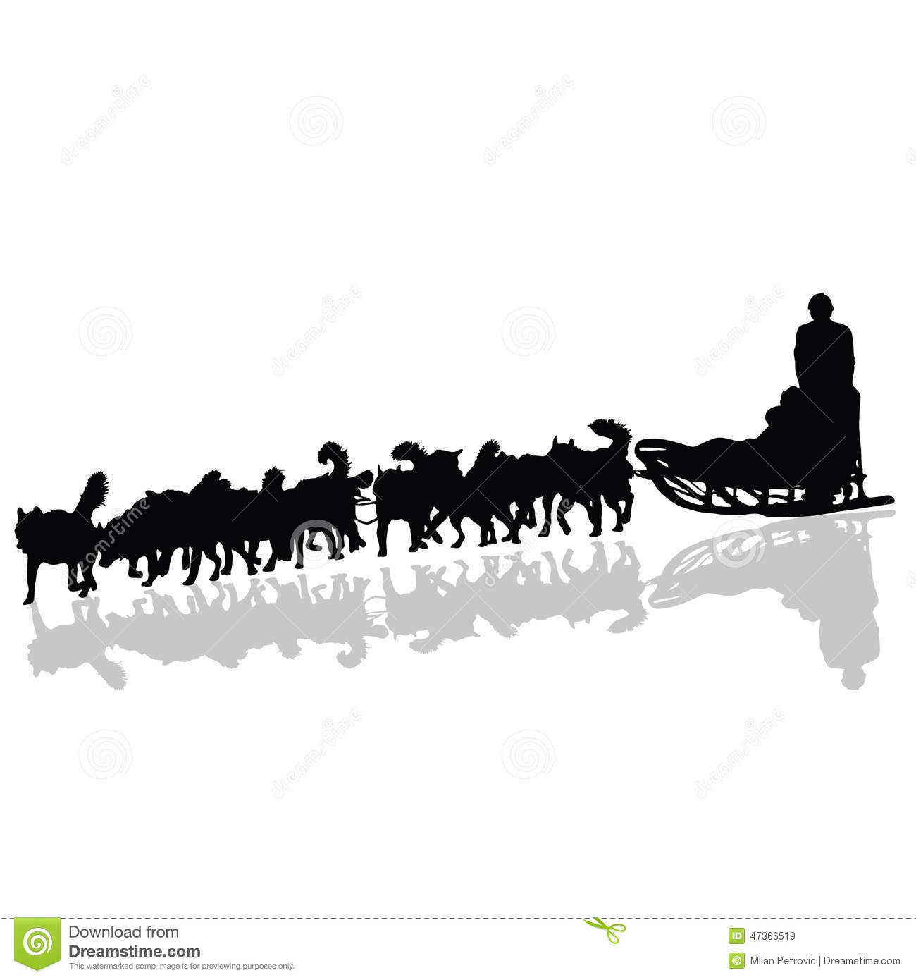 Dogs Pulling A Sled In Black Vector Silhouette Stock Vector.