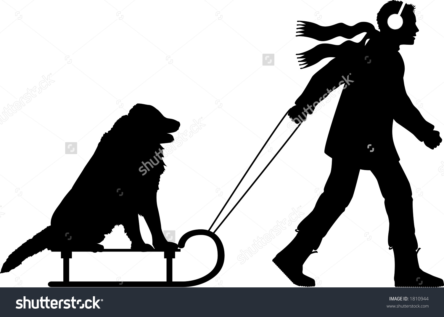 Vector Silhouette Graphic Depicting Man Pulling Stock Vector.