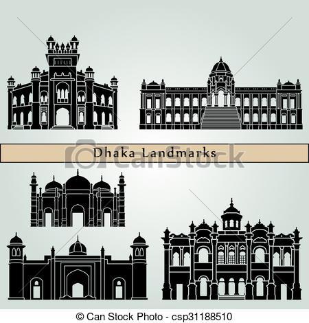 Vector Clip Art of Dhaka Landmarks.