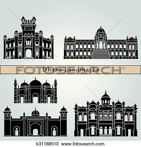 Clipart of Dhaka Landmarks k31188510.