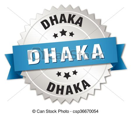 Clipart Vector of Dhaka round silver badge with blue ribbon.