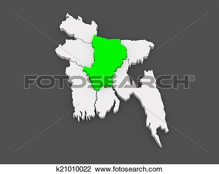 Clip Art of Map of Dhaka. Bangladesh. k21010022.