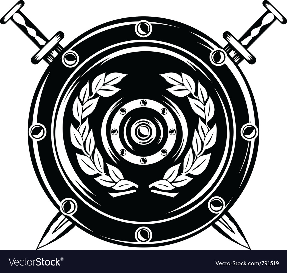 Shield and crossed swords.