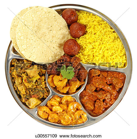 Stock Photograph of Indian Thali Cut Out u30557109.