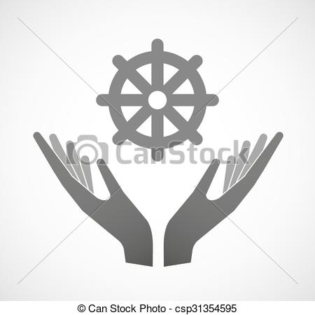 Vector Clip Art of Isolated hand giving a dharma chakra sign.
