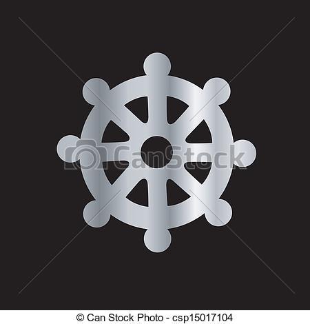 Vector Clipart of Wheel of Dharma.