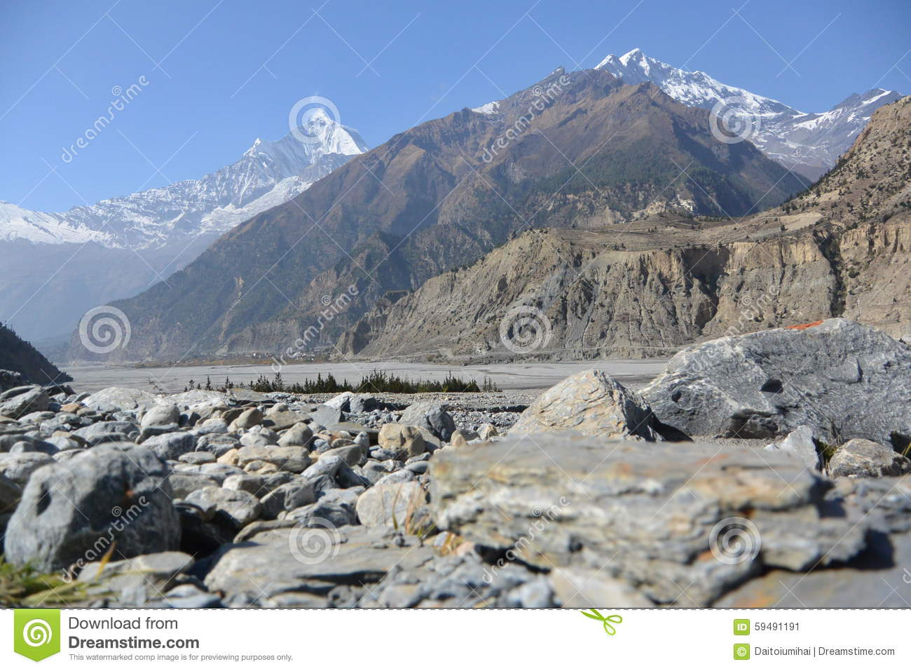 View Of Mount Dhaulagiri From Kali Gandaki Valley,Nepal Stock.