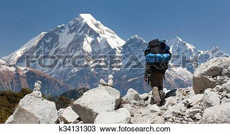 Stock Photo of mount Dhaulagiri with tourist, great himalayan.