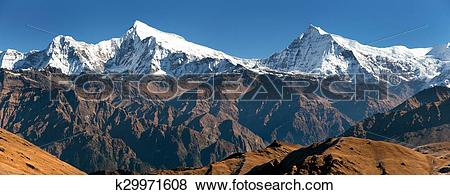 Pictures of View of Putha Churen Himal and Dhaulagiri Himal.