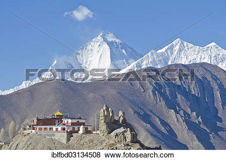 "Pictures of ""Dhaulagiri Mountain, 8167 m, Jhong Gompa in the."