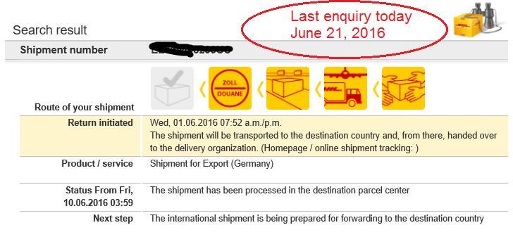 Deutsche Post, DHL.. ongoing problem.