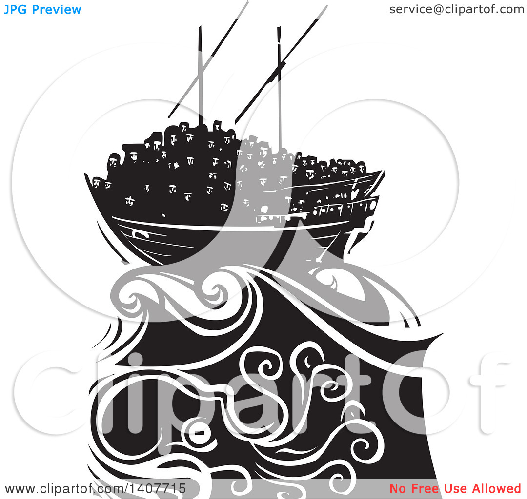 Clipart of a Black and White Woodcut Dhow Ship Crowded with.