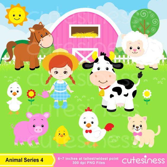 Farm Digital Clipart, Farm Clipart, Farm Clip Art, Animal Farm.