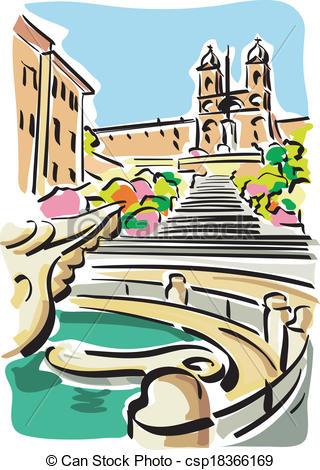 Clip Art Vector of Rome (Piazza di Spagna).