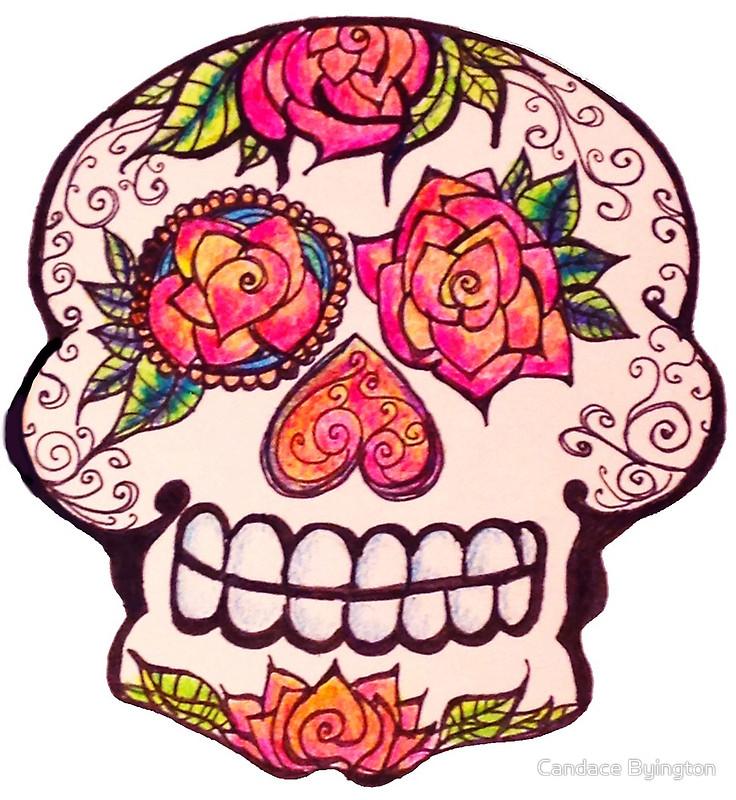 Cute Colorful Zentangle Calavera Roses For Eyes Dia de los Muertos.
