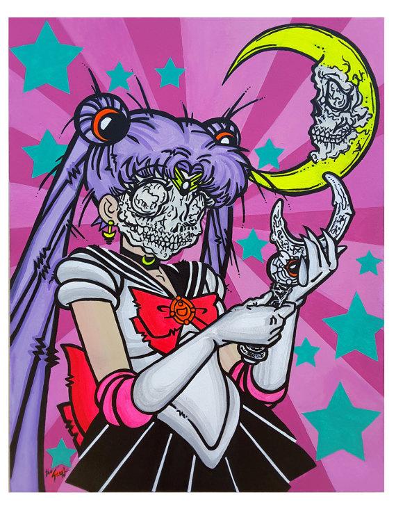 Dia de los Muertos Sailor Moon Painting by TheGhostStreetArt.