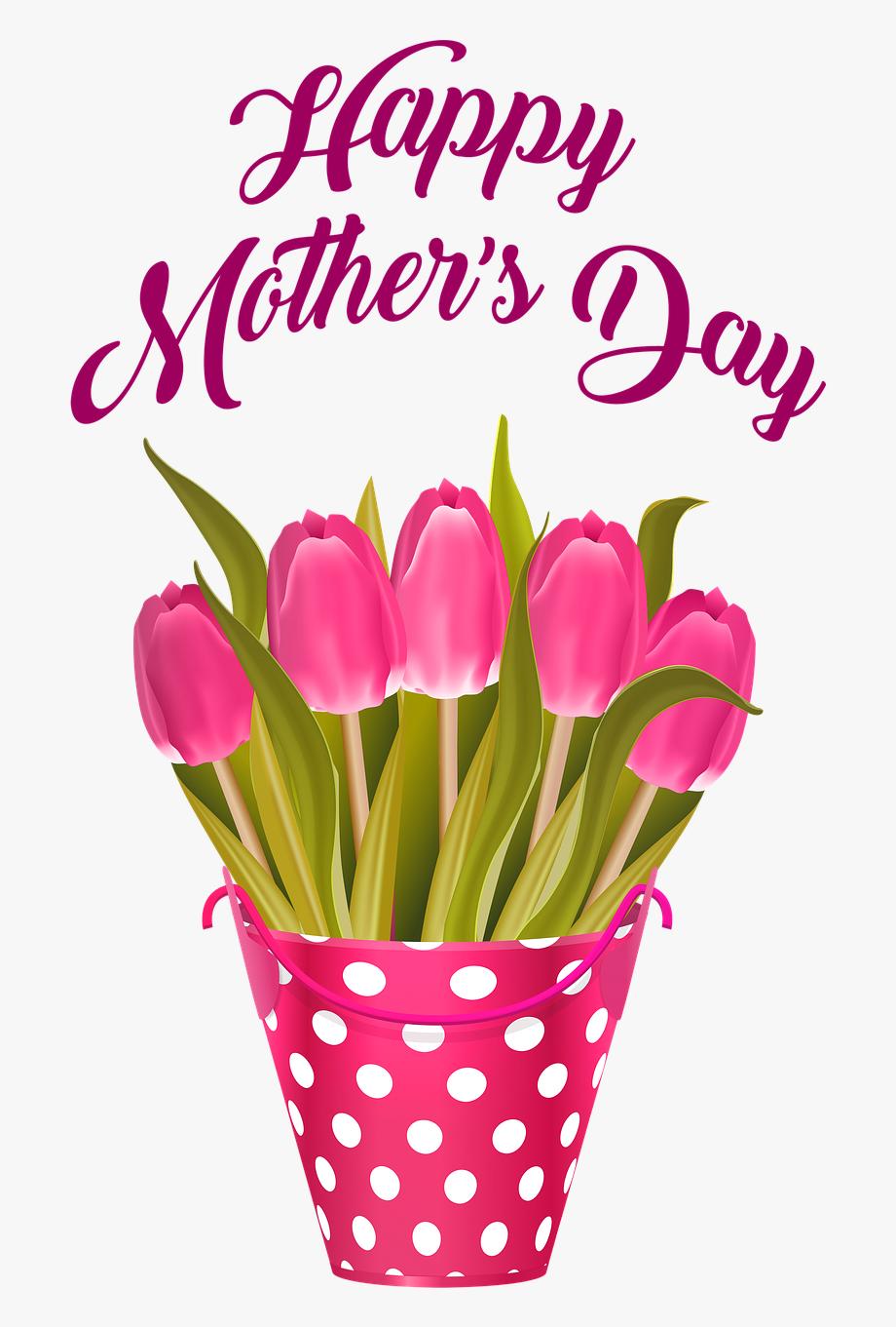 Día De La Madre Feliz, Tulipanes En Balde, Flores.