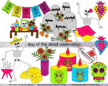 Day of the Dead Celebration (Dia de los Muertos) Clipart by Poppydreamz.