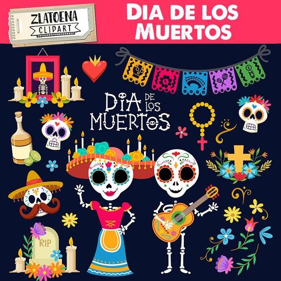 Day of the dead clip art Dia de los Muertos graphics Fiesta clipart Mexico  clipart Mexican Fiesta Sugar skull Mexican Party Clip Art.