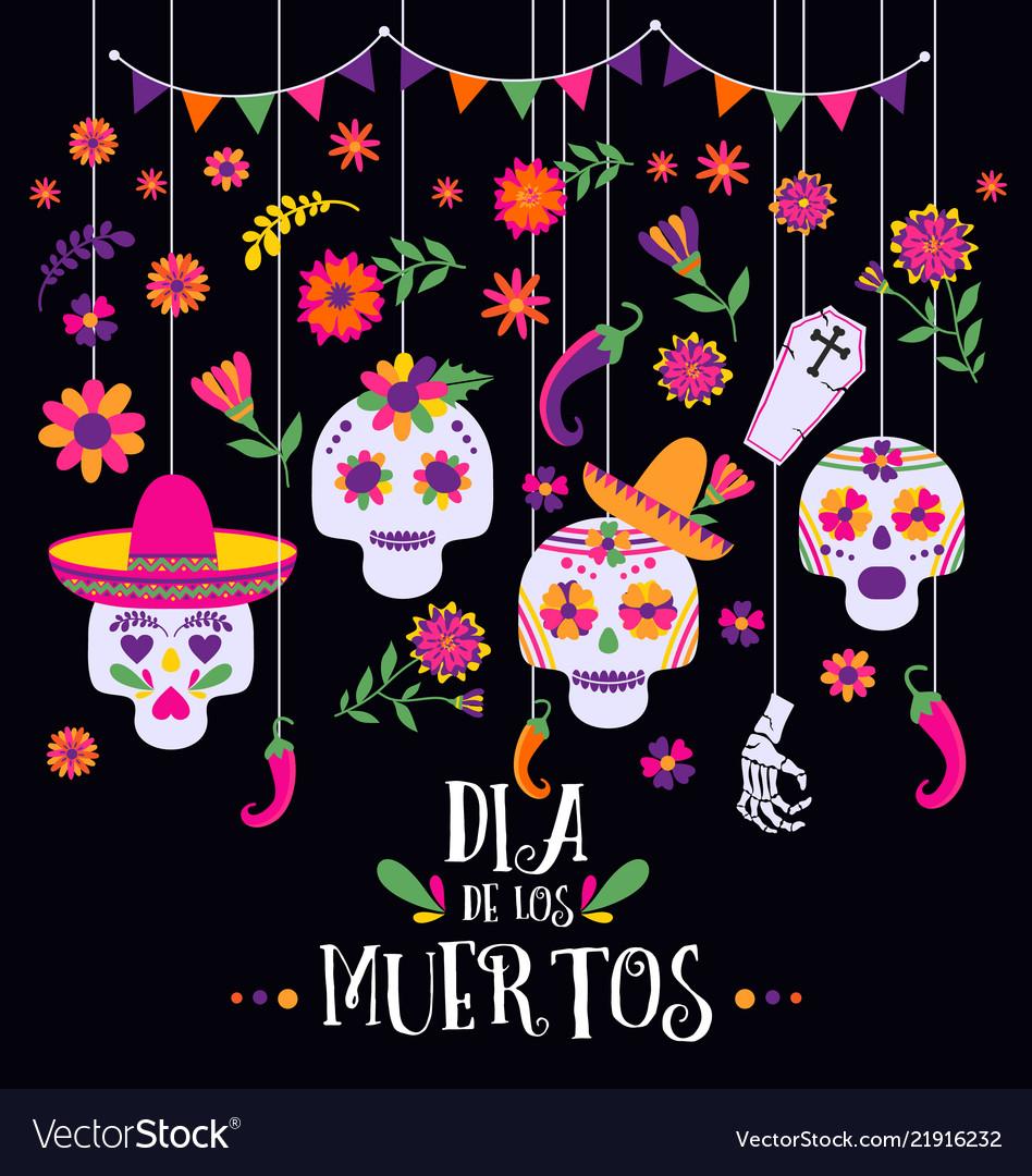 Day of the dead dia de los muertos banner with.