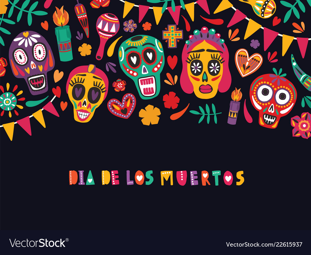 Horizontal banner template with dia de los muertos.
