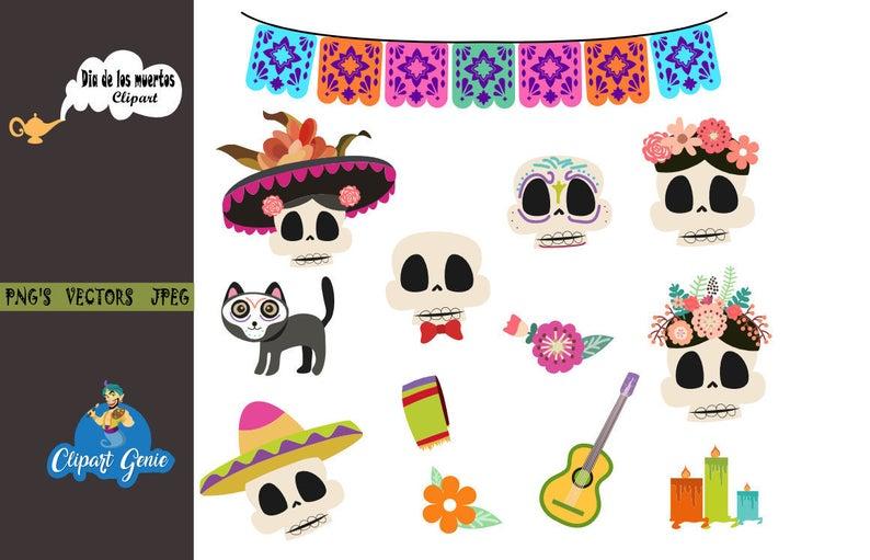 Day of the dead clipart, dia de los muertos clipart, Fiesta Clip Art,  Mariachi Guitar, Maracas, Mexican Party Clipart, Mexican clipart.