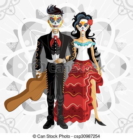 Clipart Vector of Dia De Los Muertos Day Of The Dead.