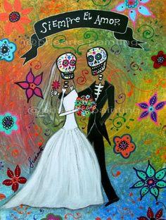 Dia de los Muertos WEDDING COUPLE Day of the Dead Art Print 5 x 7.