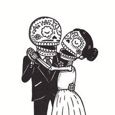Dia De Los Muertos Couple Clipart.