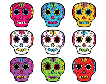 Day Of The Dead Skulls Clip Art, Calaveras Clipart, Día De Mu.