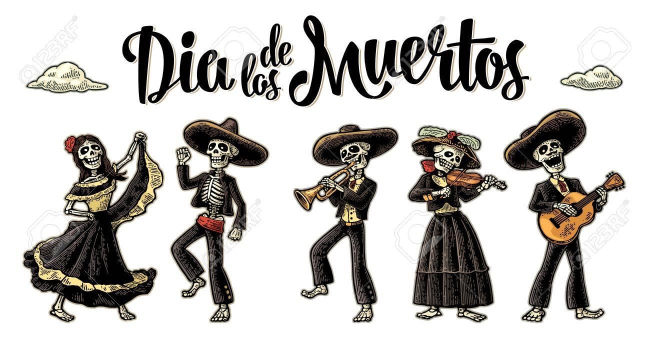 Dia de los Muertos. The skeleton in Mexican national costumes.