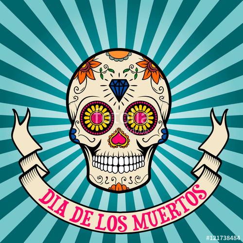 day of the dead. dia de los muertos. Sugar skull on vintage bac.