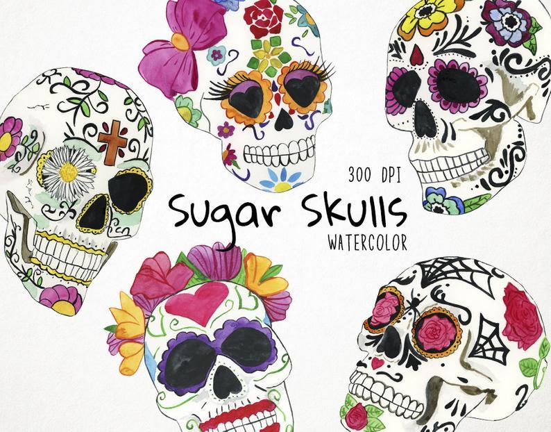 Sugar Skull Clipart, Day of the Dead Clipart, Sugar Skull Clip Art, Dia de  los Muertos Clipart Sugar Skull Watercolor Sugar Skull Art Fiesta.