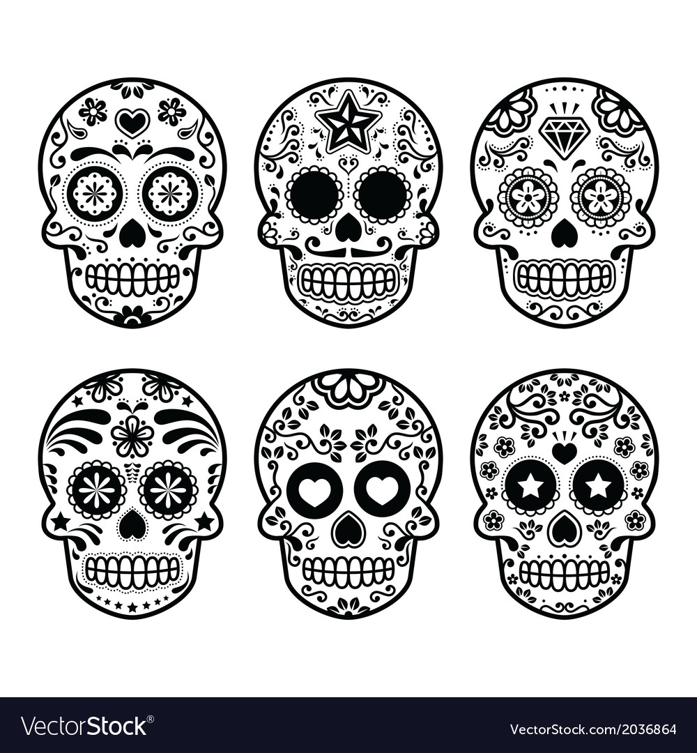 Mexican sugar skull Dia de los Muertos icons set.