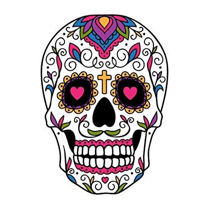 Sugar Skull Dios De Los Muertos Full Color Vinyl Decal.