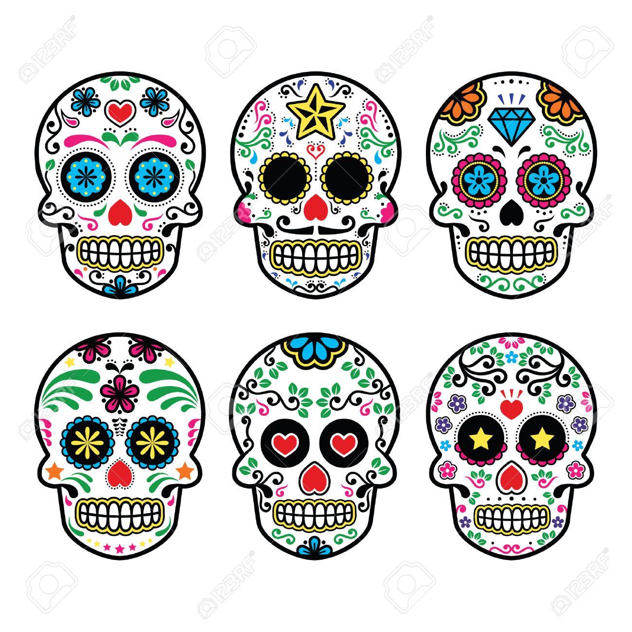 Mexican sugar skull, Dia de los Muertos icons set on white background.