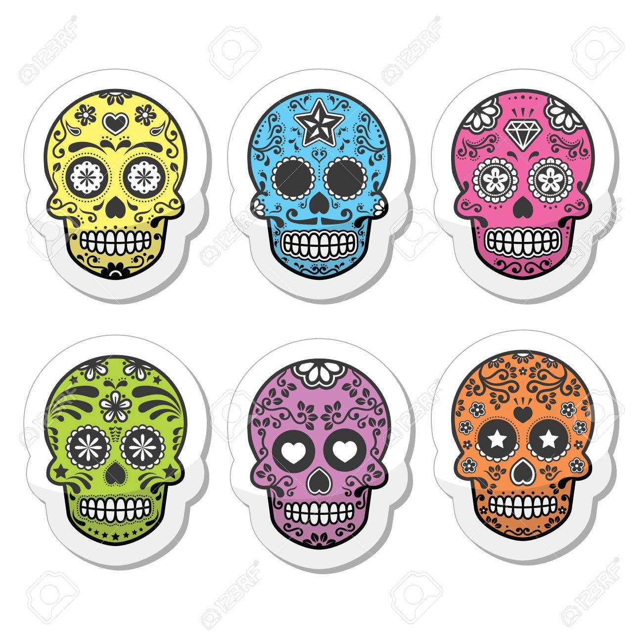 Mexican sugar skull, Dia de los Muertos icons set.