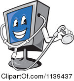 Clipart Of A Computer Monitor Mascot Holding A Diagnostics.