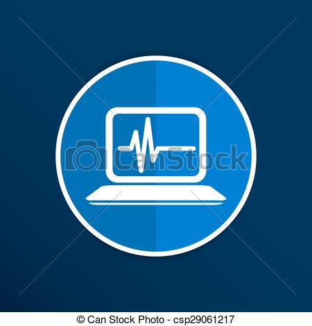 Vector Clip Art of computer diagnostics icon laptop test isolated.