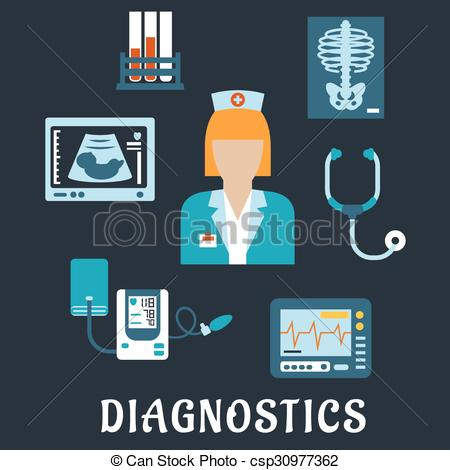 Clip Art Vector of Medical diagnostic procedures flat icons with.