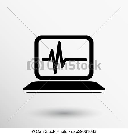 Vector of computer diagnostics icon laptop test isolated technical.