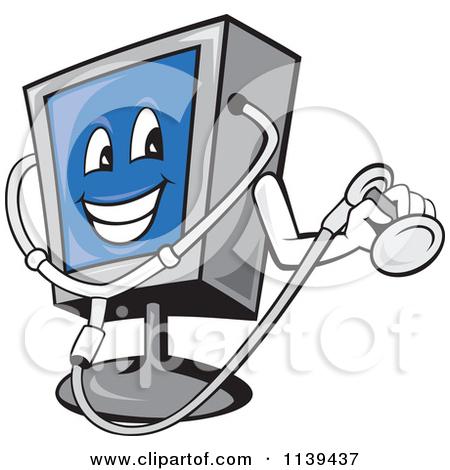 Clipart Of A Computer Monitor Mascot Holding A Diagnostics.