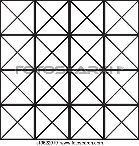 Clip Art of Black square with cross diagonals glass wall sugestion.