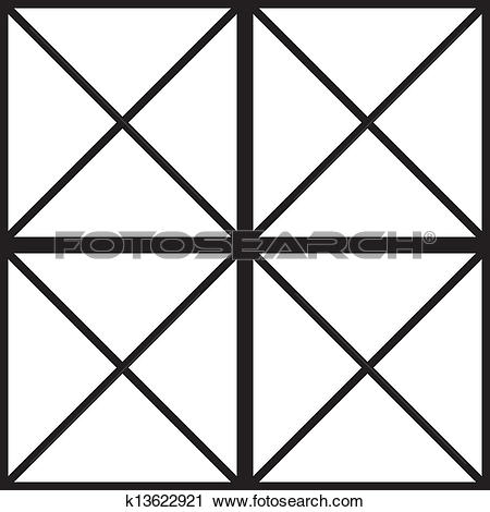 Clipart of Black square with cross diagonals window sugestion.