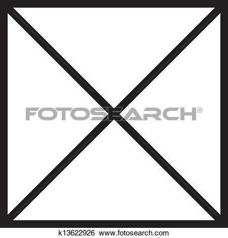 Clip Art of Black square with cross diagonals k13622926.